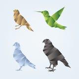 Insieme degli uccelli di origami Immagine Stock Libera da Diritti