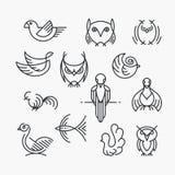 Insieme degli uccelli lineari di progettazione, linea birds& x27; simboli Fotografie Stock Libere da Diritti