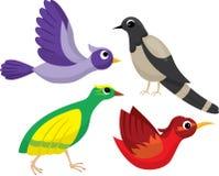 Insieme degli uccelli luminosi del fumetto Fotografia Stock