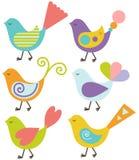 Insieme degli uccelli variopinti Immagine Stock