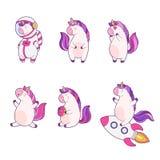 Insieme degli unicorni divertenti di magia del fumetto Toppa, autoadesivo del distintivo Raccolta delle icone, modello per i vest illustrazione di stock