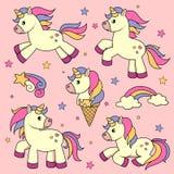 Insieme degli unicorni svegli del fumetto illustrazione di stock