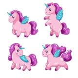 Insieme degli unicorni svegli del fumetto, piccoli bei horsees di fantasia per progettazione del gioco Immagini Stock