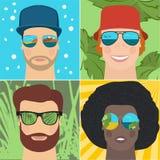 Insieme degli uomini in occhiali da sole rispecchiati Fotografia Stock Libera da Diritti