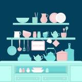 Insieme degli utensili della cucina Immagini Stock Libere da Diritti