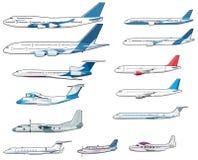 Insieme dei airplananes civili illustrazione di stock