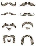 Insieme dei baffi disegnati a mano Immagini Stock Libere da Diritti