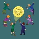 Insieme dei bambini - cercatori illustrazione vettoriale