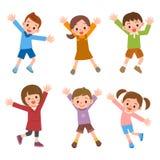 Insieme dei bambini che ridono salto Fotografie Stock Libere da Diritti