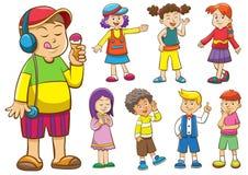 Insieme dei bambini del fumetto Immagine Stock