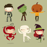 Insieme dei bambini di Halloween caratteri Fotografia Stock Libera da Diritti