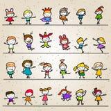 Insieme dei bambini felici del fumetto del disegno della mano di coloritura Fotografia Stock