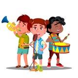 Insieme dei bambini I bambini giocano gli strumenti musicali e cantano il vettore Illustrazione isolata illustrazione vettoriale