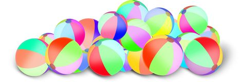 Insieme dei beach ball gonfiabili colorati Fotografia Stock Libera da Diritti