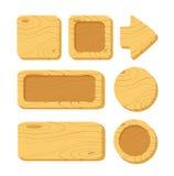 Insieme dei beni di legno del gioco del fumetto Fotografia Stock