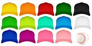 Insieme dei berretti da baseball variopinti Fotografie Stock Libere da Diritti