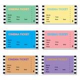 Insieme dei biglietti colorati del cinema Immagini Stock