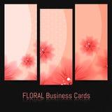 Insieme dei biglietti da visita con il modello floreale Fotografie Stock Libere da Diritti