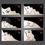 Insieme dei biglietti da visita per bellezza ed i saloni di capelli, Immagini Stock