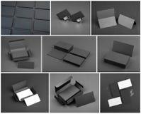 Insieme dei biglietti da visita su un fondo nero Fotografia Stock