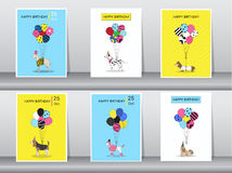 Insieme dei biglietti di auguri per il compleanno, colore d'annata, manifesto, modello, cartoline d'auguri, palloni, animali, can Fotografia Stock Libera da Diritti