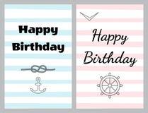 Insieme dei biglietti di auguri per il compleanno nello stile del mare royalty illustrazione gratis