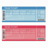 Insieme dei biglietti di treno isolati su bianco Fotografia Stock Libera da Diritti