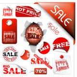 Insieme dei biglietti di vendita, contrassegni, bolli, autoadesivi Fotografia Stock