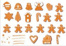 Insieme dei biscotti di natale Metta dei biscotti differenti del pan di zenzero per natale Caratteri di Natale del pan di zenzero royalty illustrazione gratis