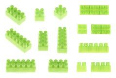 Insieme dei blocchetti della costruzione del giocattolo isolati Immagini Stock Libere da Diritti