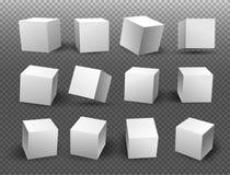 Insieme dei blocchi bianchi 3d che modella i cubi bianchi Illustrazione di vettore isolato su un fondo trasparente Immagine Stock