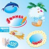 Insieme dei blocchi per grafici e di elementi della spiaggia di estate Fotografie Stock