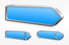 Insieme dei bottoni blu della freccia del metallo Fotografie Stock Libere da Diritti