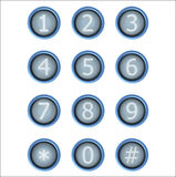 Insieme dei bottoni con il numero Immagine Stock Libera da Diritti