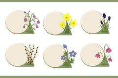 Insieme dei bottoni con la decorazione del fiore della molla Fotografia Stock