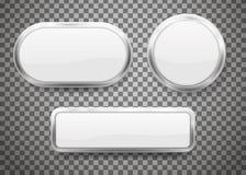 Insieme dei bottoni con la struttura del cromo su fondo trasparente Illustrazione di vettore illustrazione vettoriale