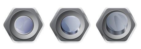 Insieme dei bottoni d'argento per webdesign Fotografie Stock Libere da Diritti