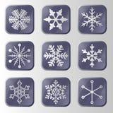 Insieme dei bottoni dei fiocchi di neve. Illustrazione Vettoriale
