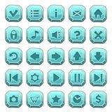 Insieme dei bottoni del quadrato della pietra blu Fotografia Stock Libera da Diritti