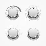 Insieme dei bottoni del regolatore, isolato su bianco Immagini Stock