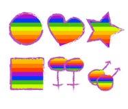 Insieme dei bottoni dell'arcobaleno Immagini Stock