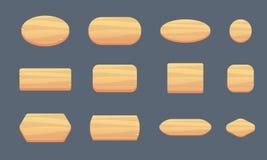 Insieme dei bottoni di legno per un'interfaccia di gioco di varie forme Forme di legno per scrivere illustrazione vettoriale