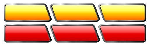Insieme dei bottoni di vetro arancio e rossi Fotografia Stock