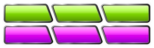 Insieme dei bottoni di vetro blu e bianchi Fotografie Stock