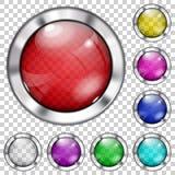 Insieme dei bottoni di vetro trasparenti Fotografie Stock