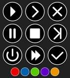 Insieme dei bottoni differenti - giochi, seguente, trasmettono, fastforward, exi illustrazione vettoriale