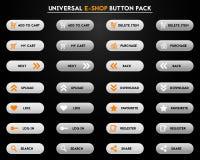 Insieme dei bottoni grigi semplici del e-negozio Fotografia Stock Libera da Diritti