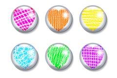 Insieme dei bottoni lucidi con cuore Immagini Stock