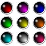 Insieme dei bottoni lucidi per le icone Immagine Stock