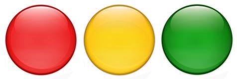 Insieme dei bottoni lucidi vuoti di web del semaforo, fondo lucido e bianco Fotografia Stock